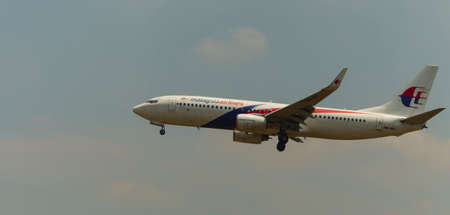 Kuala Lumpur, Malaysia, 15th March 2017, Malaysia Airlines aircraft on landing approach at the airport Editorial