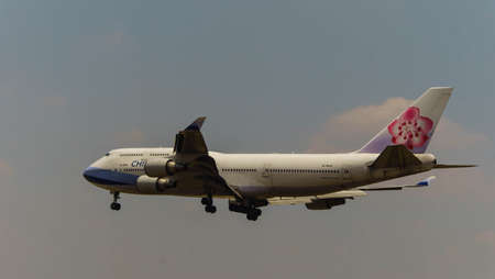 boeing 747: Kuala Lumpur, Malaysia, 15th March 2017, China Airlines Boeing 747 Cargo aircraft on landing approach at the airport