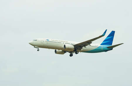 Kuala Lumpur International Airport, 20th March 2017, Garuda Indonesia aircraft on landing approach at the airport