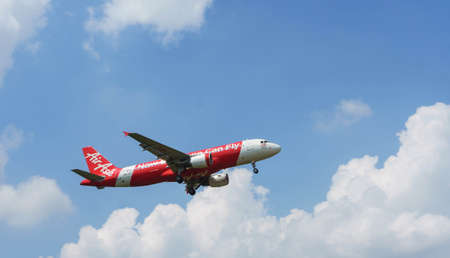 Kuala Lumpur, Malaysia, 15th March 2017, Air Asia aircraft on landing approach at the airport