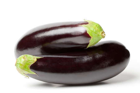couple of aubergines on white background