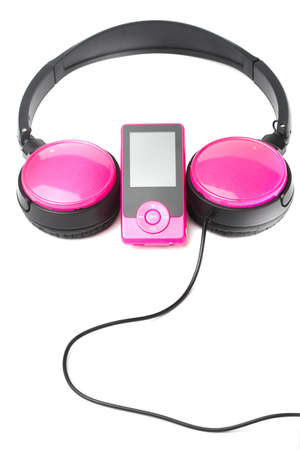 pink mp4 player and headphones isolated on white background. vertical composition Stock Photo - 12582248