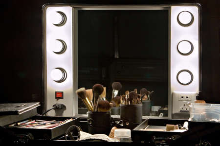 Professional make up case with backstage mirror and make up tools and products Stock Photo