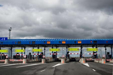 Multiple lane toll barrier in Spain Stock Photo