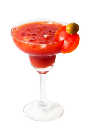 Front view of Bloody Mary cocktail with clipping path
