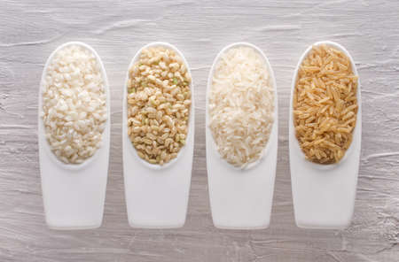 Variety of different rice grains Stock Photo