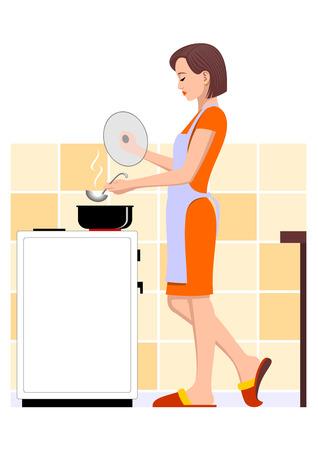 Cooking  woman Иллюстрация