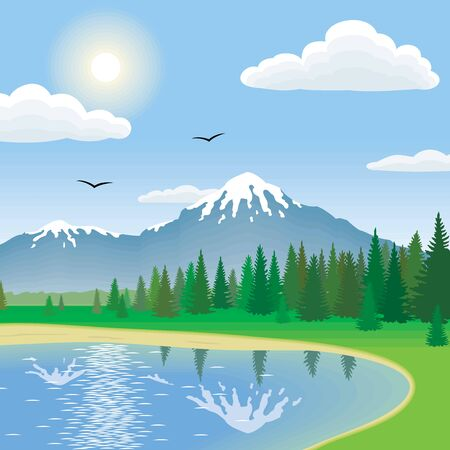 sky and grass: Landscape Illustration