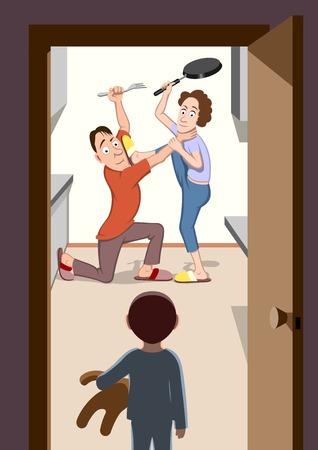 Parents fighting Иллюстрация