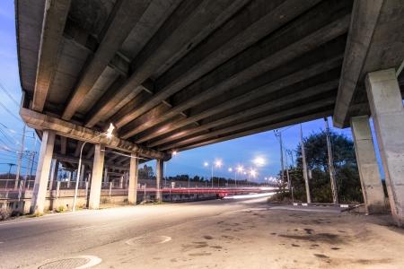 girder: Concrete girder bridge at dusk