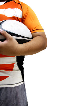 seperation: Rugby player holds rugby ball on white background