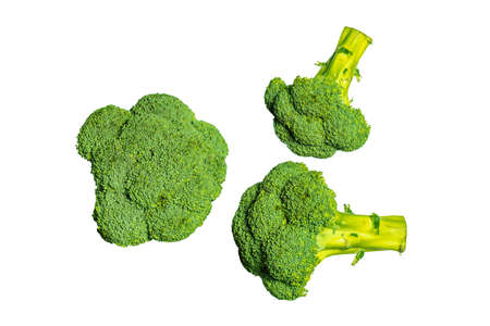 Three broccoli on a white background. Healthy vegetables. Products for vegetarian. Green vegetables.