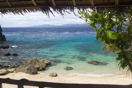 apo: view from the window of tropical resort in Apo island. Philippines Stock Photo