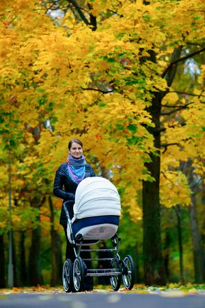 young caucasian woman is pushing white baby carriage while she walking at autumn park with beautiful yellow leaves at day time