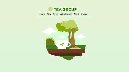 tea group landing page 向量圖像