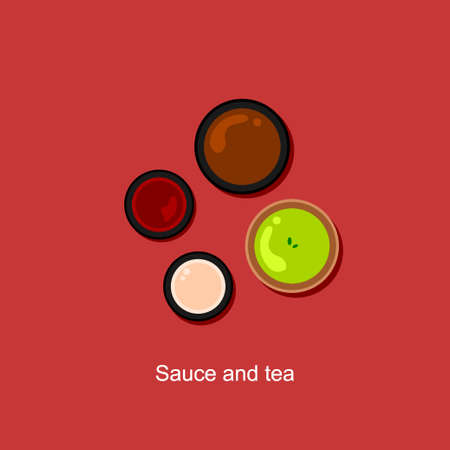 sauce and green tea flat vector