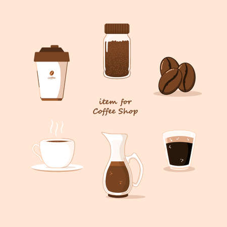 coffee collection flat vector, with a minimalist form, themed in chocolate, good for coffee shops or cafes
