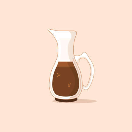 glass coffee pot flat vector with brown color