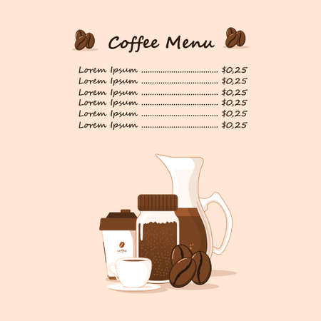 flat vector coffee menu design, minimalist theme, modern style, suitable for menus in cafes