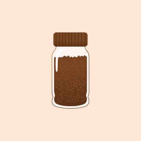 coffee jar flat vector with brown color Çizim