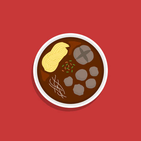flat food meatballs design, images in the form of typical Indonesian food, EPS can be edited layer by layer