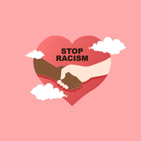 stop racism flat vector, with add love and clouds illustration, do not be racism
