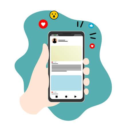 social media flat illustration vector with hand use smartphone Ilustração