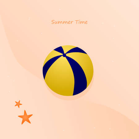 beach volley ball illustration vector for summer time, EPS layer include volley ball, sands background and text