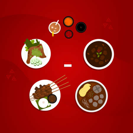 indonesian food menu collection set flat illustration, EPS layer include Rendang, meat ball, chicken satay, chili chicken, and sauce