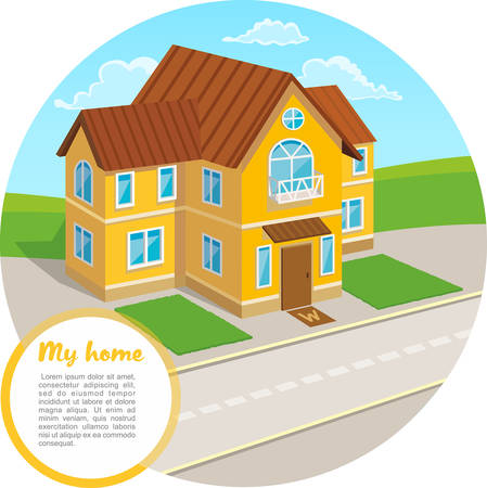 Traditional house with a brown roof. Family home. Vector concept illustration. Cartoon house. Illustration