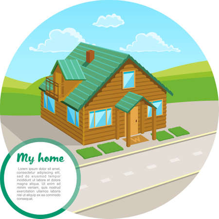 Traditional house with a green roof. Family home. Vector concept illustration. Cartoon house.