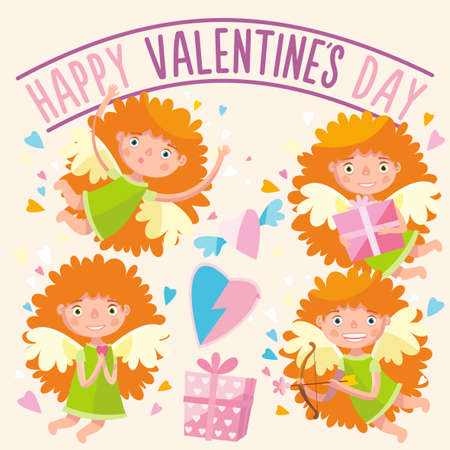 Cupid mascot in various positions.Vector illustration.Happy valentines day.