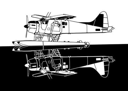 aileron: Indiscrete style black white combo mirror propeller driven seaplane skimmers on calm sea