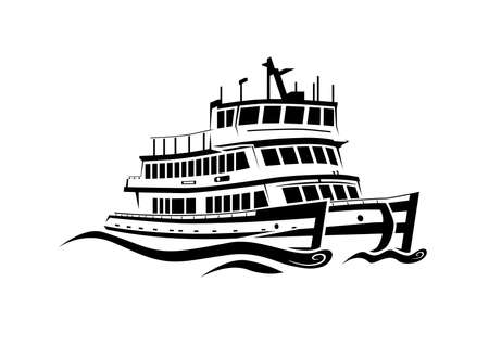 Discerning loose style harbor ferry cruising black white creating waves in calm sea Stock Vector - 18430818