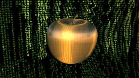 reverberate: 3D render golden powerful cyber apple rippling shockwaves in green coded cyberspace  Stock Photo