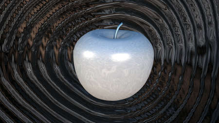 reverberate: 3D render shiny powerful liquid metal apple rippling shockwaves of dark liquid  Stock Photo