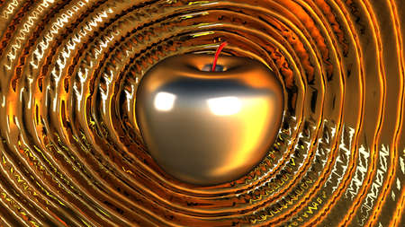 reverberate: 3D render shiny powerful platinum apple rippling shockwaves over liquid gold base Stock Photo