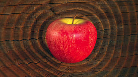 reverberate: 3D render luscious ripe red apple rippling shockwaves on hardwood physical surface
