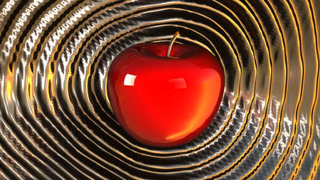 3D render shiny powerful red hot apple rippling shockwaves over liquid platinum  Stock Photo