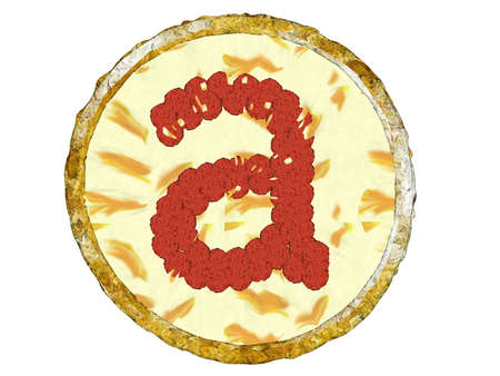 cheesy: 3D golden crust cheesy pizza with beef pepperoni topping shaped alphabet small a top view