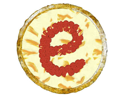 topping: 3D golden crust cheesy pizza with beef pepperoni topping shaped alphabet small e top view Stock Photo
