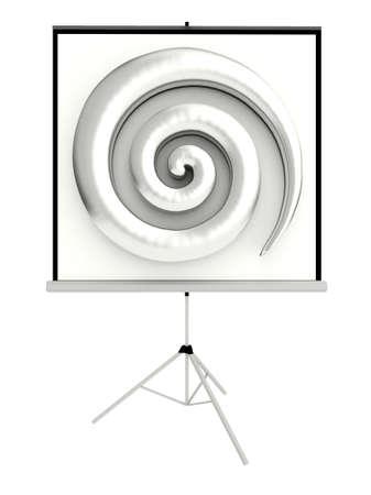 spellbinding: 3D chrome spiraling hypnotic sculpture projector screen front view Stock Photo