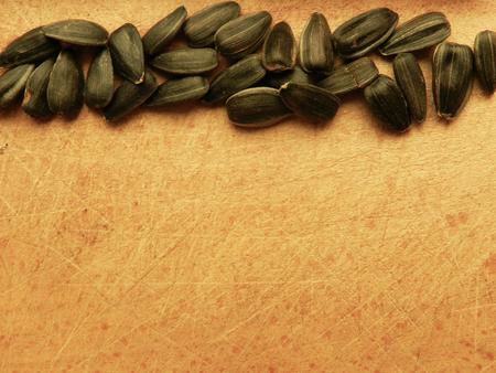 semillas de girasol: Las semillas de girasol fila en la tabla de madera. Las semillas de girasol patrón de la frontera. Las semillas de girasol primer macro foto. Las semillas de girasol de fondo. plantilla lado de girasol.