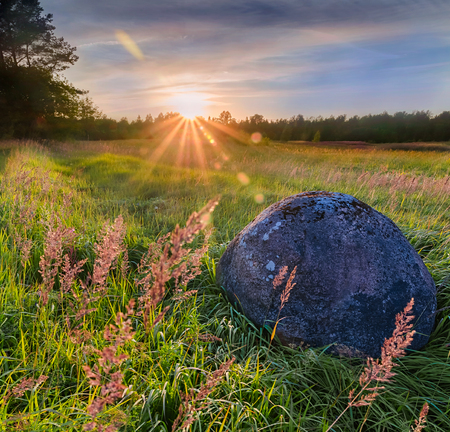 great plains: Stone at sunset.The great Russian plains