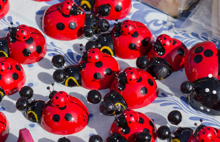 Many ladybugs close up at the fair. Stock Photo