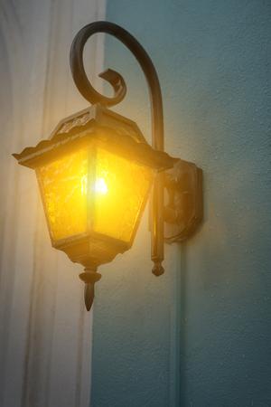 Antique garden lights with solar battery. Closeup shot