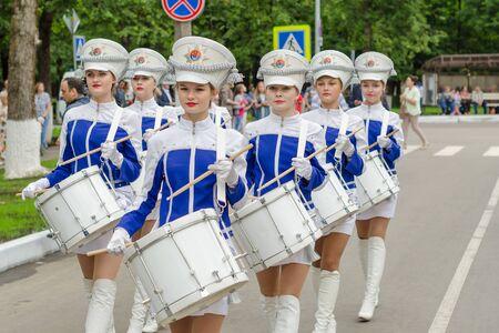 Slantsy, Leningrad region, Russia, July 30, 2016: Girls drummers in military uniform at the festival 89-th birthday of the Leningrad region.