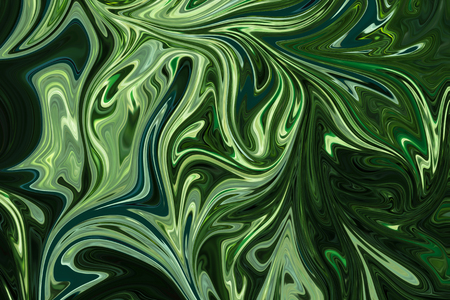 Liquify Abstract Pattern With DarkGreen, ForestGreen And OliveDrab Graphics Color Art Form. Digital Background With Liquifying Flow Фото со стока