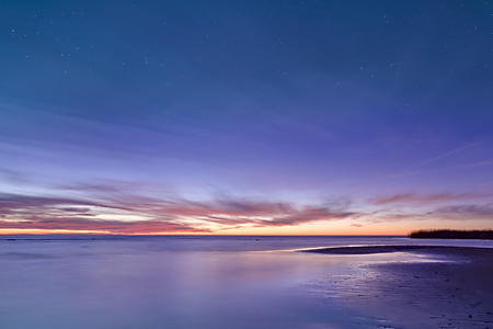 Dramatic Sunset in Long Exposure for background. Stunning long exposure sunset shot. Nature composition