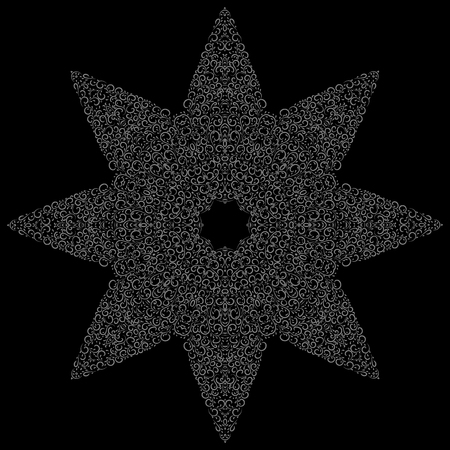 Isolated black and grey floral vector seamless pattern in form of star. Calligraphic vintage flowers, swirls, lines, curves and ornament. Flourish decorative background Çizim